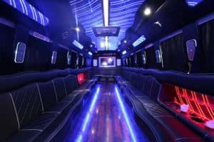 neon party bus interior