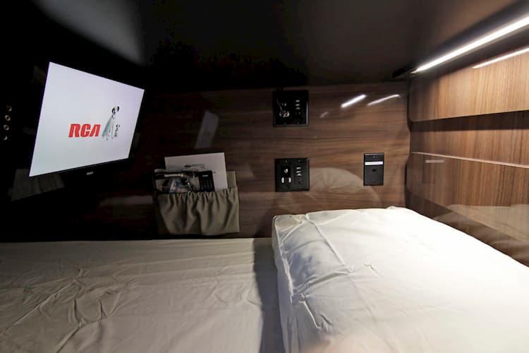 bunk interior of a celebrity tour bus