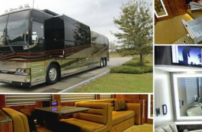collage of celebrity tour bus interiors and exteriors