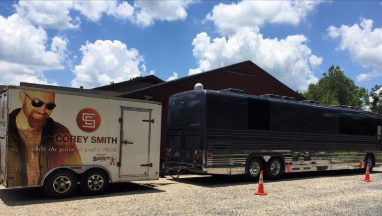 Corey Smith Band's tour bus and trailer