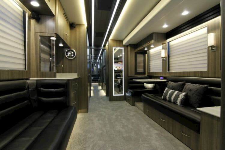 front lounge of a celebrity tour bus