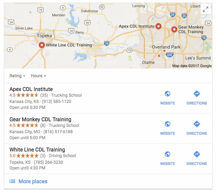 a google result list of charter bus companies hiring drivers