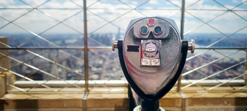 sight viewer overlooking new york city skyline