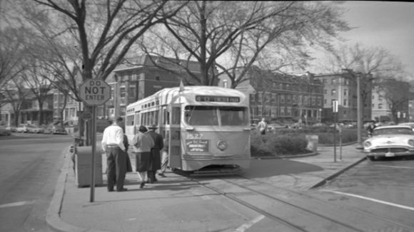 "A streetcar stops at one of Washington DC's ""streetcar suburbs."""