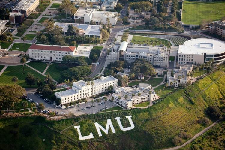 aerial view of LMU campus