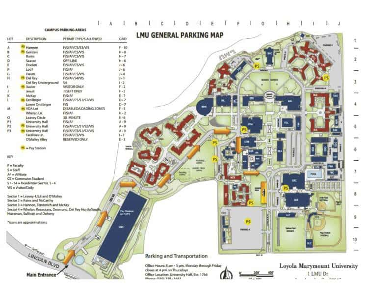 LMU general parking map and directions to bus parking
