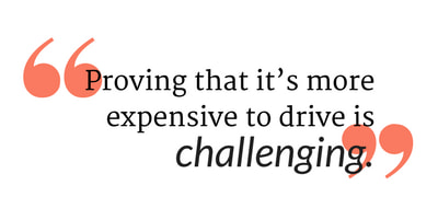 """a quote with orange quotation marks that says, """"proving that it's more expensive to drive is challenging."""""""