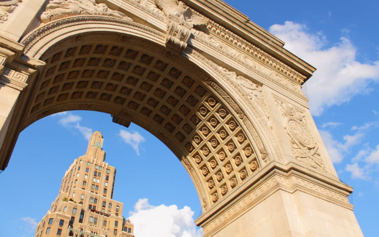 View from underneath the archway at Washington Square Park