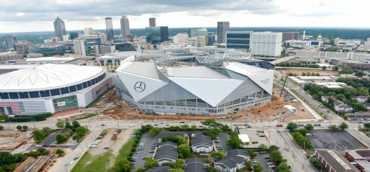 aerial view of mercedes benz stadium