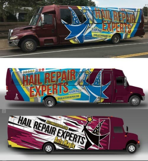 "Burgundy bus wrapped with ""Hail Repair Auto Experts"""