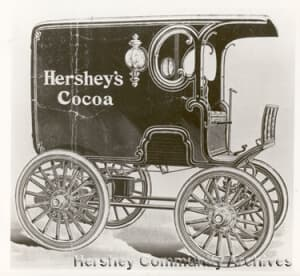 a historic image of a Hershey vehicle wrap