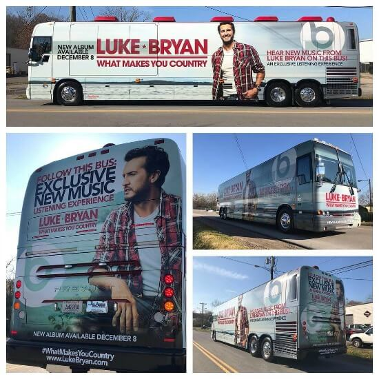a bus wrap advertising a tour for luke bryan