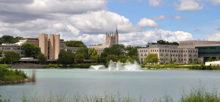 Part of the Northwestern University campus overlooking a lake