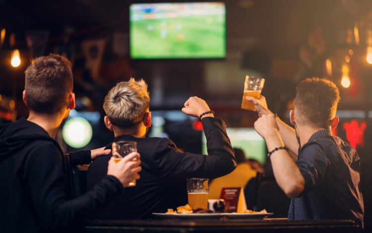 A group of friends cheer at a sports game on a television in a sports bar