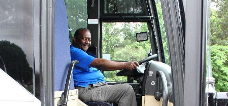 friendly charter bus driver