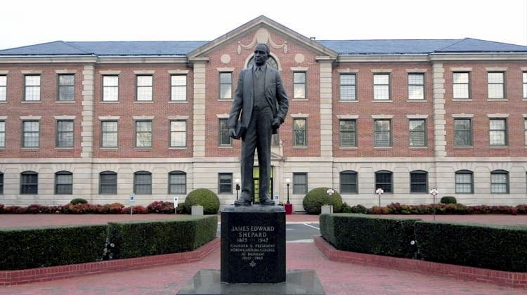 Statue of founder on NCCU campus