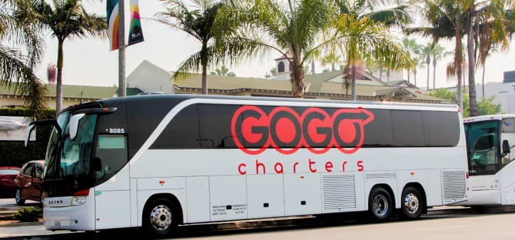 A parked GOGO Charters bus
