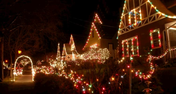 Houses with holiday lights