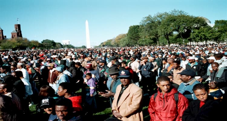 men stand and prepare for the million man march
