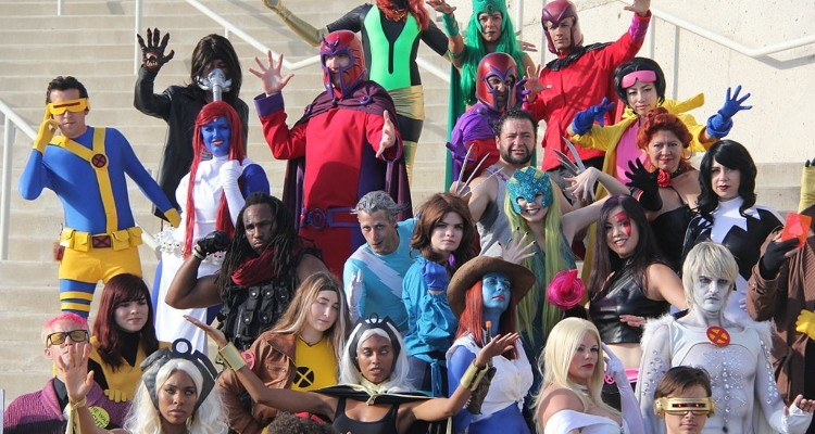 Large group of San Diego Comic Con visitors dressed up as super heros