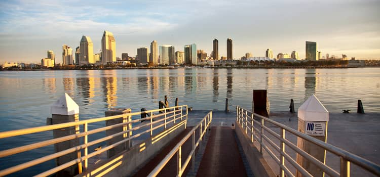 Docks leading into San Diego bay