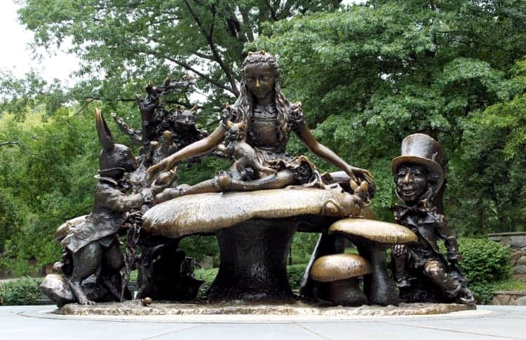 alice in wonderland statue of character and friends in central park, nyc