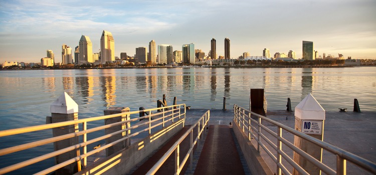 Skyline of downtown San Diego from a waterfront dock