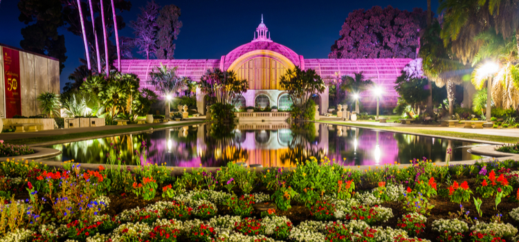 View of Balboa Park at night