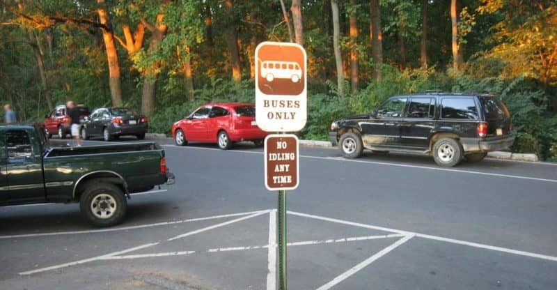 Gettysburg charter bus parking sign