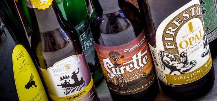 a lineup of craft beers