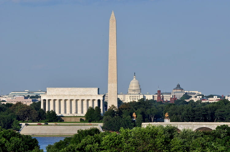 the washington monument, lincoln memorial, and capitol building all in one view in dc