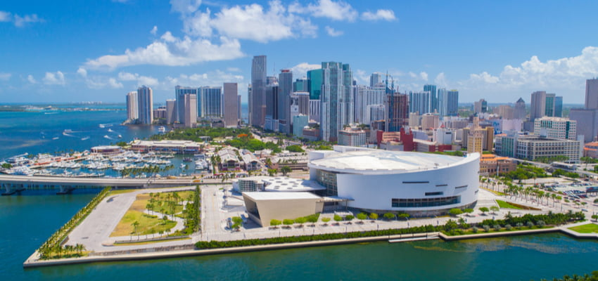 downtown miami aerial view with american airlines arena and cityscape