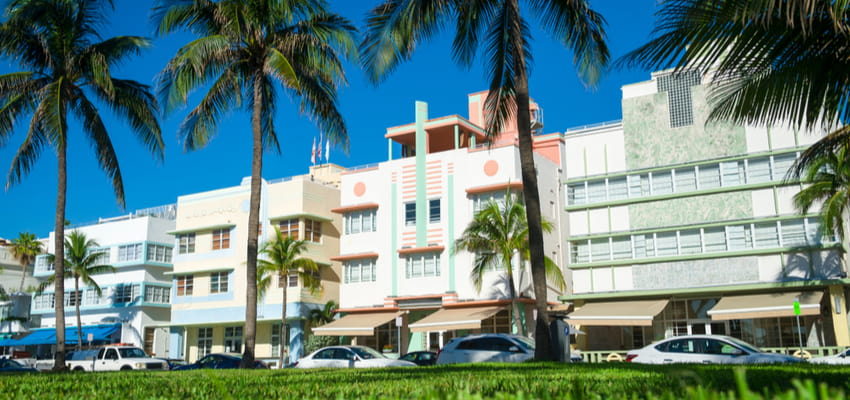 view of ocean drive art deco buildings from lummus park
