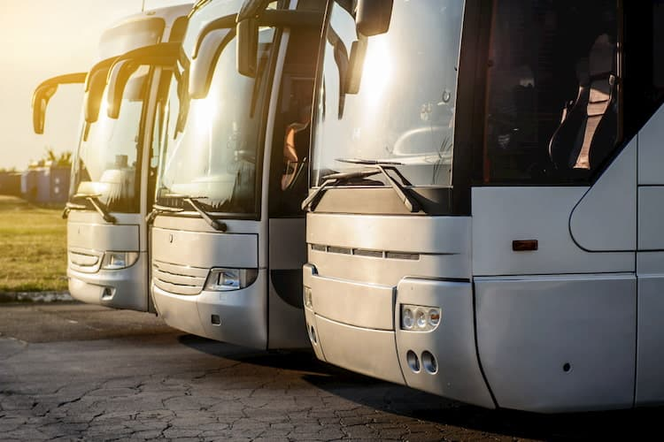fleet of charter buses parked at sunset