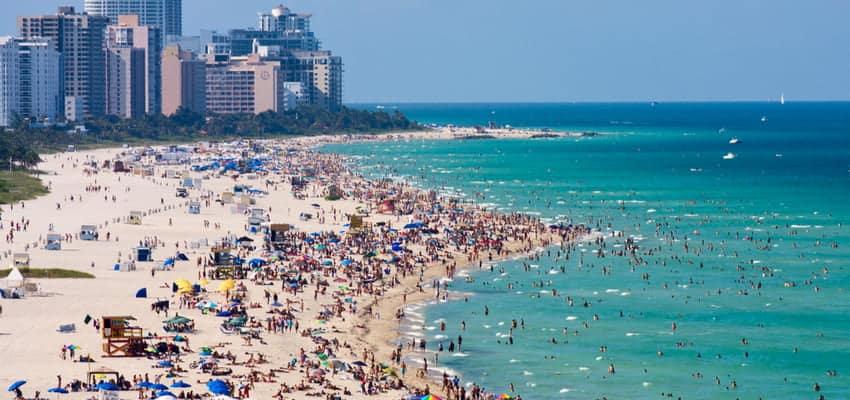 Aerial view of South Beach, Miami