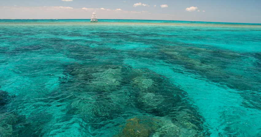 aerial shot of the clear waters and reefs at John Pennekamp Coral Reef State Park