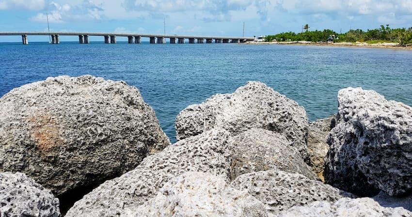 rocks and the Oversea Highway In Islmorada, Florida