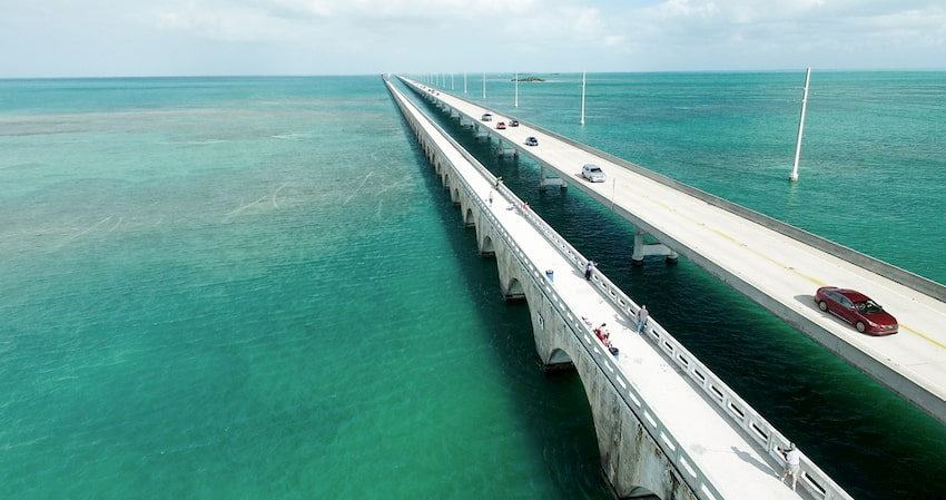 the Oversea Highway in Florida, stretching across blue water and across the horizon