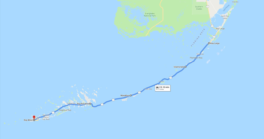 a map showing a route through the Florida Keys, from Key Largo to Key West