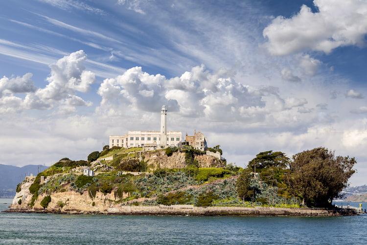 alcatraz island from across the san francisco bay
