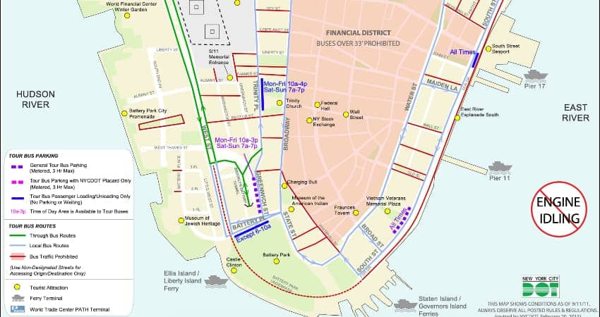 Lower Manhattan charter bus parking map