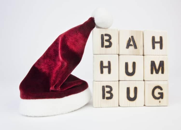"""A Santa hat with words saying """"Bah Humbug"""""""