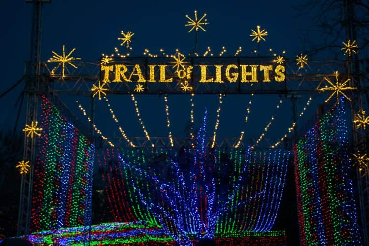 The entrance to the Austin Trail of Lights