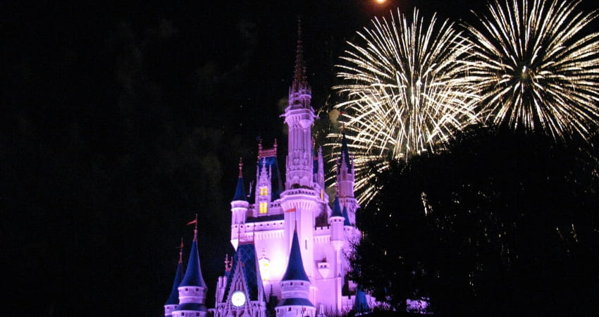 magic kingdom castle in disney world fireworks