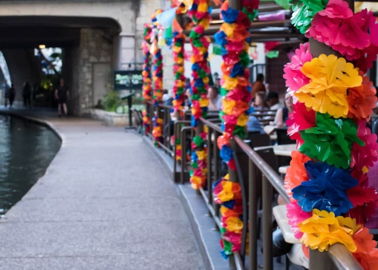 colorful decorations at a san antonio street fiesta