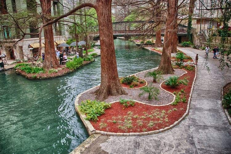 waters and gardens on the San Antonio Riverwalk