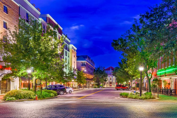Gainesville, Florida downtown at twilight