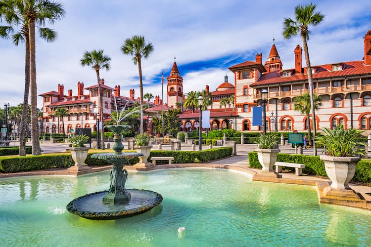 St. Augustine Florida town square and fountain