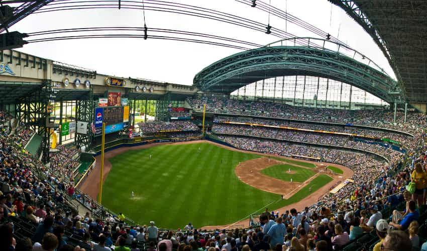The inside of Miller Park, home of the Milwaukee Brewers.
