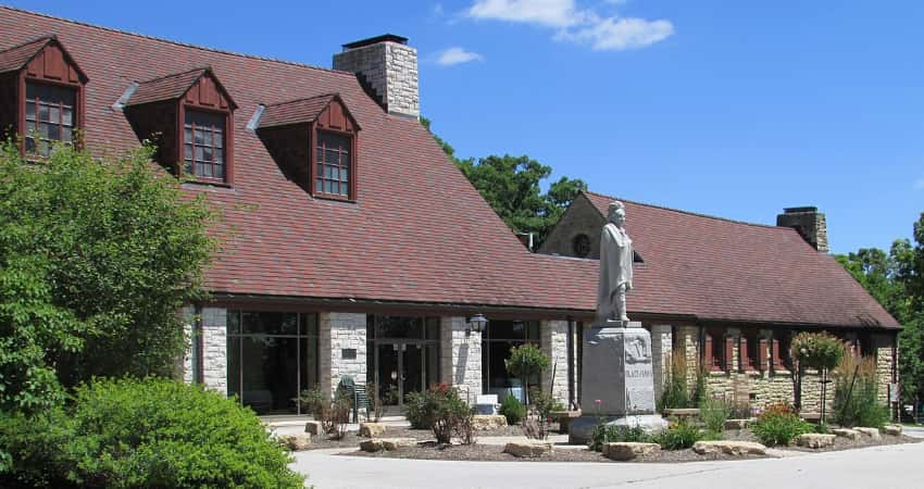Exterior of the Hauberg Indian Museum at Black Hawk State Historic Site in Rock Island, Illinois.